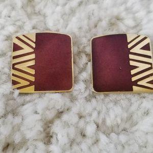 Vintage Laurel Burch Goldtone Enamel Earrings